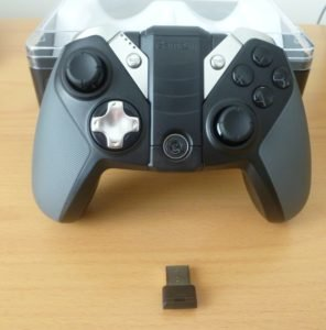 The rubberised handles have the same width and feel as the handles on the Nintendo GameCube controller.